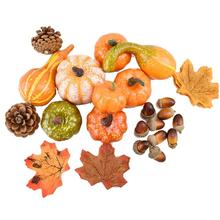50PCS Autumn Artificial Mini Pumpkin Leaves Acorns Berries Decoration Kit Shooting Props For Halloween Thanksgiving Party
