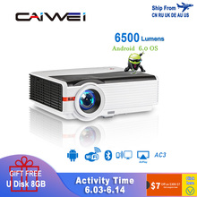Caiwei A9/A9AB Smart Android 6.0 WiFi LED 1080p Projector Home Cinema 6500 Lumen