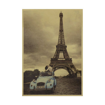 The blue old style car kissing couple under the Tower in Paris nostalgic retro kraft paper poster home decor wall sticker image