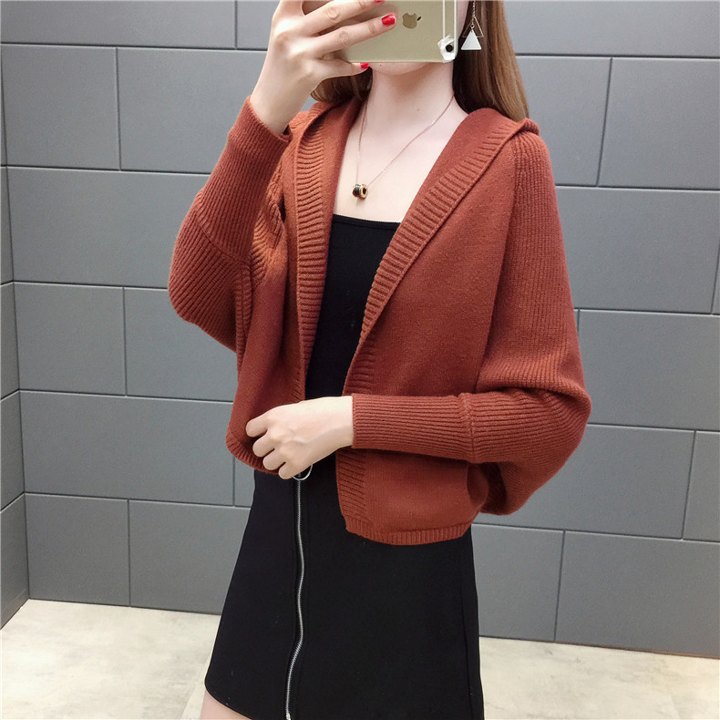 2019 Free send New style Korean loose and comfortable Autumn women Cardigan Sleeve of bat Hooded Sweater coat 109