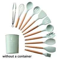 Without a container 11pcs/set Kitchen Accessories Wooden Handle Silicone Multi functional Cooking Tool Set Kitchen Utensils Set