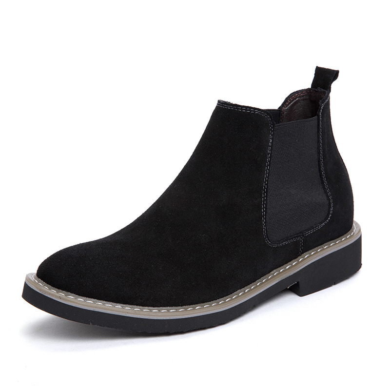 Winter Europe And America Retro Chelsea Men's Boots Men Thick Bottomed Elevator 6 Cm Casual Hight-top Martin Boots