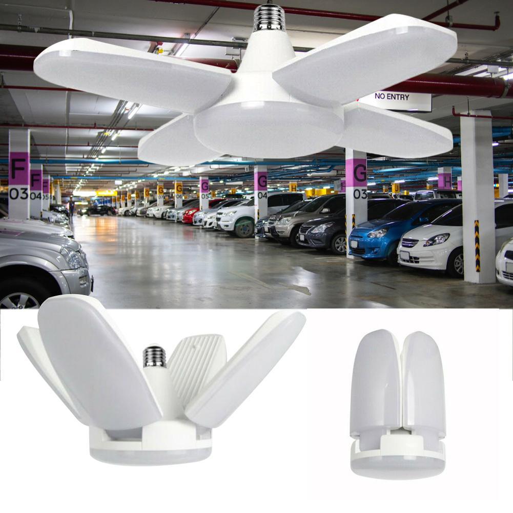 80W Garage Lampada Deformare Luce Pieghevole Pala del Ventilatore Luce Del Pendente Del LED E27 Lampadina 360 Gradi di Angolo Regolabile Lampada Da Soffitto 85-265V
