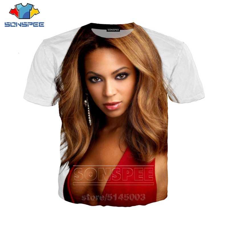 Beyonce T gömlek yaz erkekler kadın kazak 3D baskı seksi şarkıcı kısa kollu Hip Hop sokak Top O boyun moda kazak C034