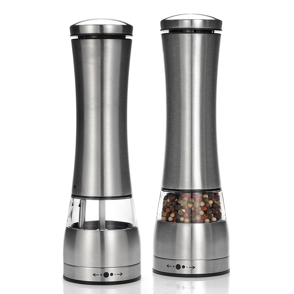 Electric Salt and Pepper Grinder – Battery Operated with LED Light –  Adjustable Coarseness Mills for kitchen