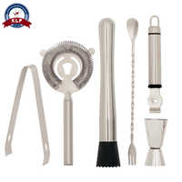 Custom package 6pcs stainless steel drink wine tool accessories for bar