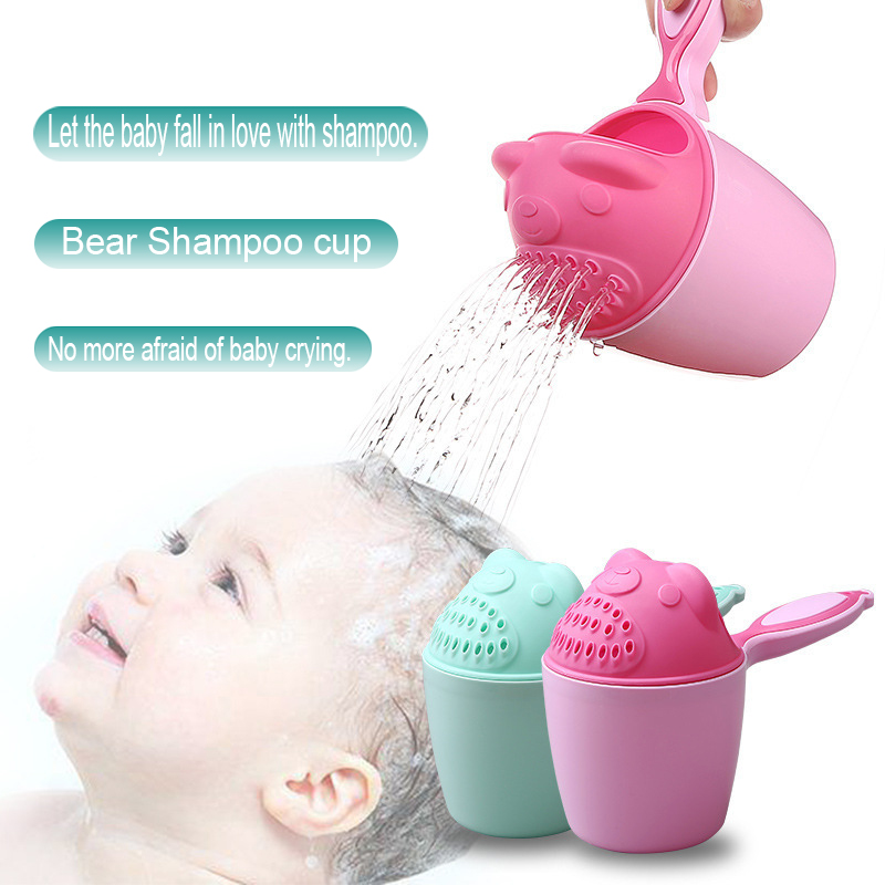 1pc bonito dos desenhos animados shampoo copo colher do bebê chuveiro banho de água natação cabeça garrafa rega todder crianças lavar cabelo shampoo copo