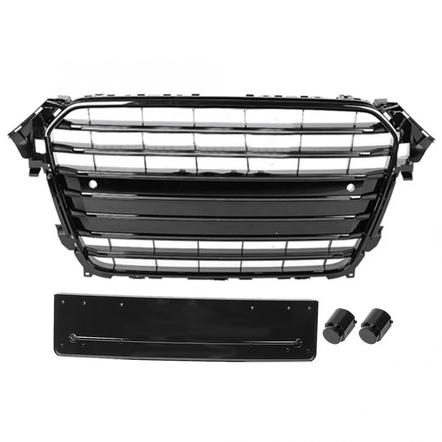 For S4 Style Car Front Bumper Mesh Grille Grill for Audi A4/S4 B8.5 2013 2014 2015 2016 ABS Black Car AccessoriesRacing Grills   -