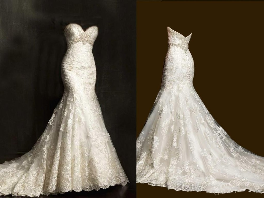 Top Selling Lace Long Mermaid Wedding Dresses 2015 Sweetheart Neckline Beaded Sleeveless Court Train Zipper Bridal Gowns Sexy