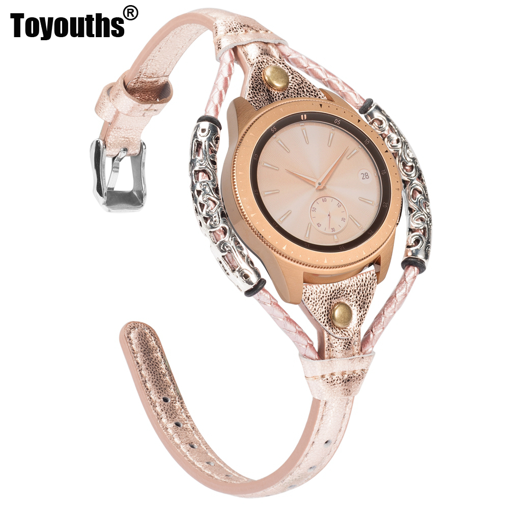 Leather Band For Samsung Galaxy Watch 42mm/Active 2 40mm 44mm Replacement 20mm Genuine Vintage Leather Strap For Active 40mm