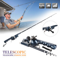 Durable Carbon Steel Black Bonding Tools Fishing Rod Reel Telescopic Pole Fish Pole Folding Fishing Rod Portable