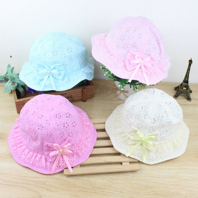 Cute Summer Girl Sun Hats Cap Cotton  Sun-proof Breathable Candy-colored Bow Bucket Hat For Newborn Baby Kid Cowboy Infant