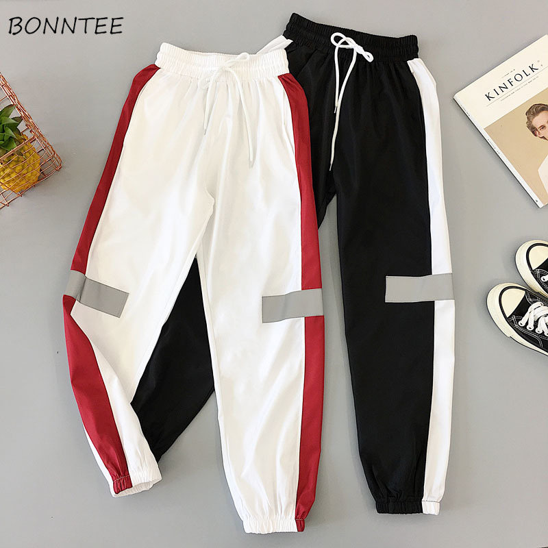 Pants Women Ankle-Length Trousers All-match Korean Style Harajuku Womens High Waist Patchwork Drawstring Trousers Leisure Daily