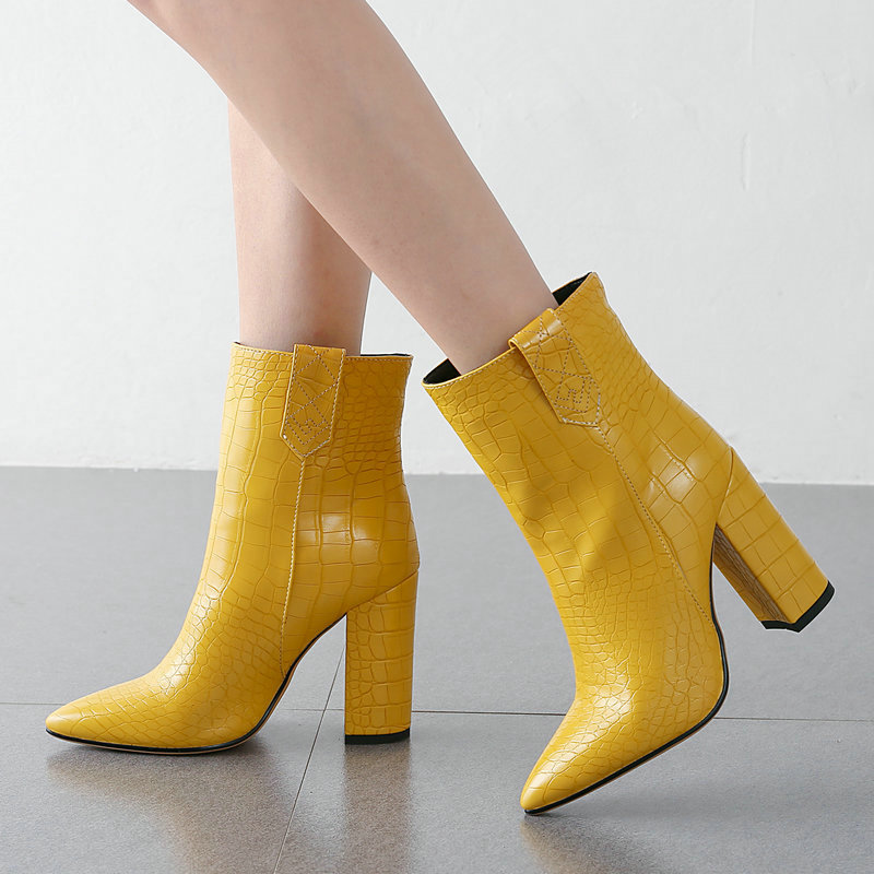 Faux Leather Pointed Toe Wide Ankle