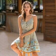 Simplee Plus size v neck summer dress Women v neck floral print bohemian female short dress A line high waist ladies sundress