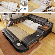 Натуральная кожа многофункциональный массаж кровать каркас Nordic camas ultimate кровать LED свет Bluetooth динамик сейф