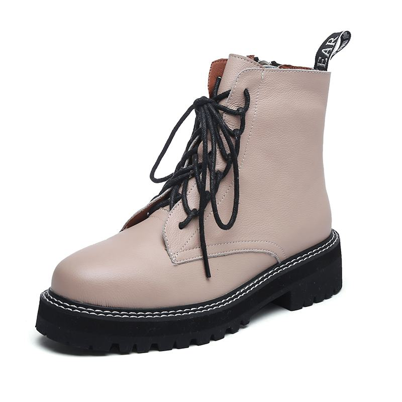 MORAZORA 2021 Genuine leather boots women shoes thick sole lace up autumn winter short ankle boots for women motorcycle boots