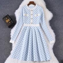 2021 New Spring Knitted Sweater Dress Women Button Up Korean Fashion Vintage Plaid Blue Black Mini Dress Robe Femme Vestidos