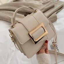Gürtel Schnalle Design PU Leder Umhängetaschen Für Frauen 2020 Mini Schulter Einfache Tasche Weibliche Reise Handtaschen Einfache Stil