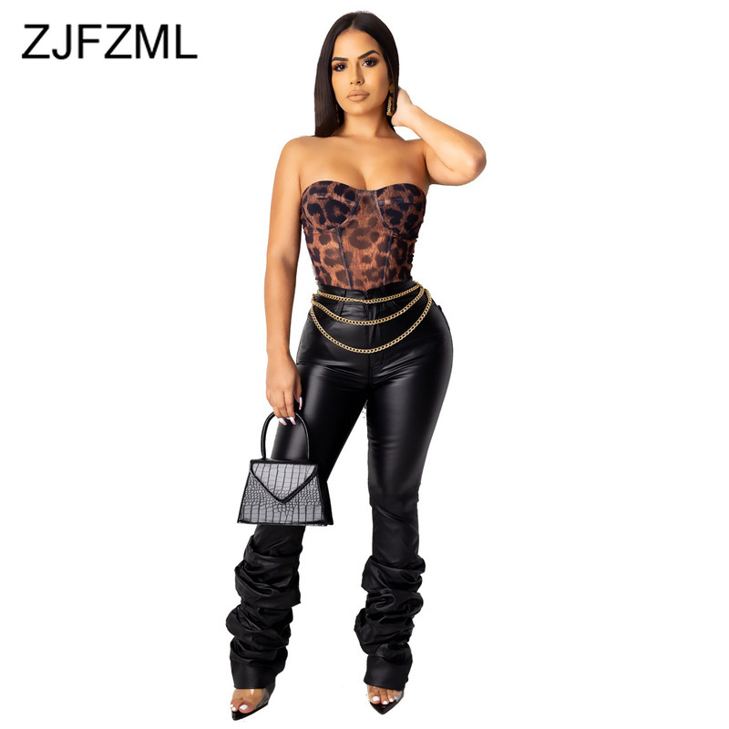 Sexy Ruched PU Leather Pants Women High Waist Black Skinny Trousers Plus Size Streetwear Autumn Winter Long Warm Jogger Pants