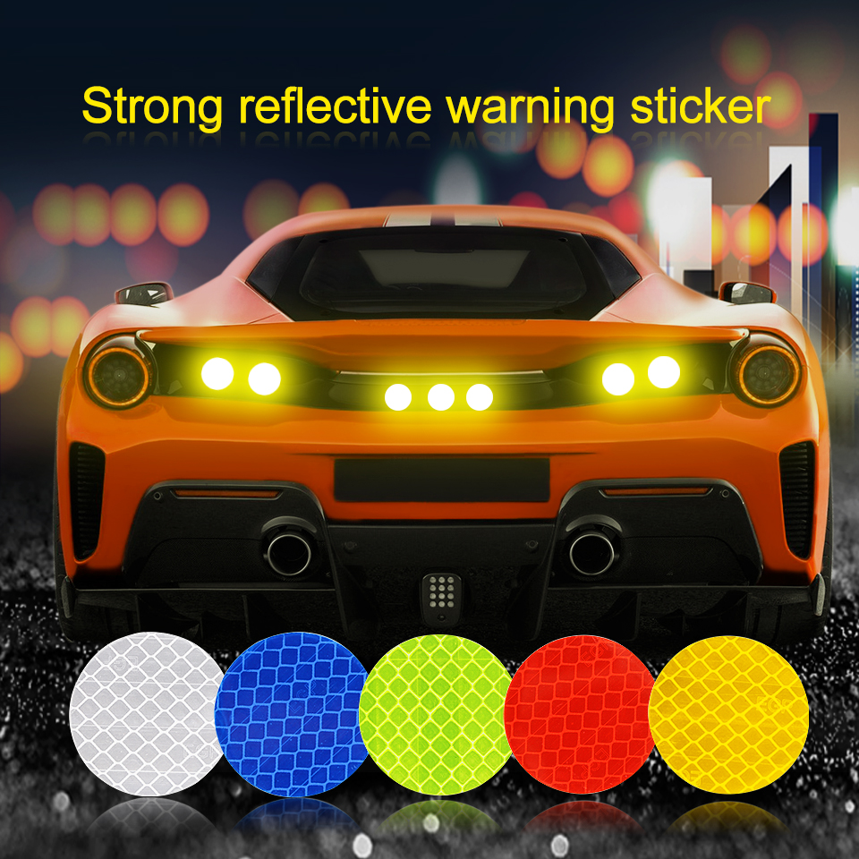 Solid Color Round Reflective Sticker For Car Door Safety Warning Mark On Wheel Eyebrow Auto Exterior Accessories  Stickers