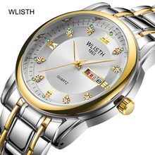 цена Men's steel belt quartz business luminous dual calendar display waterproof men's watch double calendar casual men's quartz watch онлайн в 2017 году