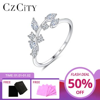 CZCITY Korean 925 Sterling Silver Handmade Olive Leaf Rings for Women Exquisite CZ Stone Adjustable Open Ring Jewelry - discount item  40% OFF Fine Jewelry