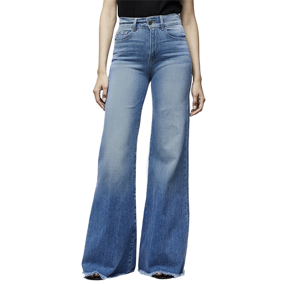 ADISPUTENT Women Elastic Plus Loose Denim Pants Pocket Button Casual Boot Cut Pant Jeans Women Straight Line Button Flare Jeans