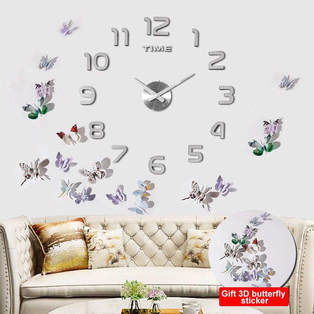 3D Acryl Uhr Spiegel Aufkleber Uhr Wand DIY Kreative Uhr Hause Dekoration Quarz Uhr/Freies zu senden 3D schmetterling aufkleber