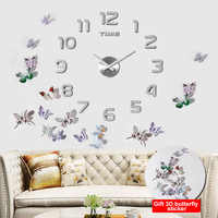 3D Acrylic Clock Mirror Sticker Watch Wall DIY Creative Clock Home Decoration Quartz Clock / Free to send 3D butterfly sticker