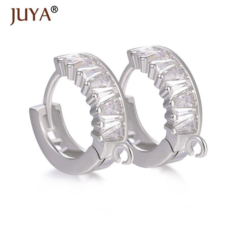 Luxury Zircon Crystal Earring Hooks Clasps Accessories For Women DIY Dangle Earrings Pearls Earrings Jewelry Material Supplies