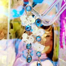 MENGJIQIAO 2020 New Vintage Fashion Blue Crystal Drop Earrings For Women Girls Acrylic Flower Petal Pendientes Holiday Jewelry