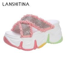 2020 Summer Thick Bottom Platform Slippers Women 8CM Heels Outside Flip-Flops Breathable Sandals Colorful Bling Sneaker