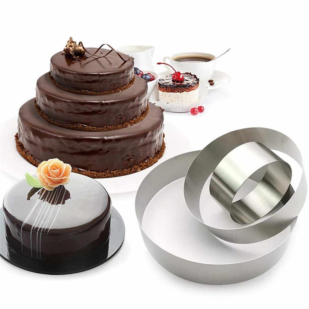 3 個ラウンドケーキシリコーン型食品グレードステンレス鋼リングベーキングプディングケーキアクセサリーベーキングケーキ型