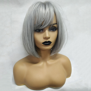 Image 2 - EASIHAIR Grey Straight Bob Synthetic Wigs with Bangs for Women Medium Length Hair Bob Wig Wavy Heat Resistant Cosplay Wigs