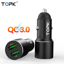 TOPK G207Q Dual USB Car Charger Quick Charge 3.0 Fast Car-Charger for iPhone Xiaomi Huawei Phone Adapter in car
