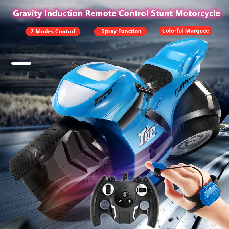 Gravity Induction Watch Control Stunt Driving Motorcycle Spray Function In Place Rotation With Colorful Marquee Electric RC Toy