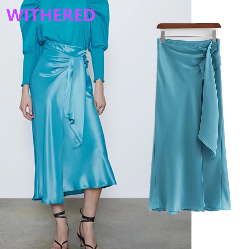 Withered England High Street Vintage Elegant Bow Satin Forking Sexy Midi Skirt Women Faldas Mujer Moda 2020 Long Skirts Womens