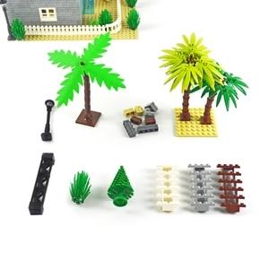 Image 2 - Bloques de construcción de arma militar, accesorios de ciudad, flor y arbusto verde, hierba, árbol, escalera, juguetes, Pilar, ciudad, pared, Compatible con todas las marcas