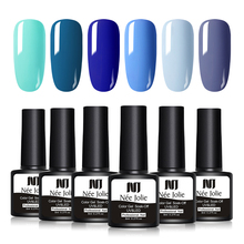 NEE JOLIE 1 Bottle Blue Series Color UV Gel Soak Off 8ml Led Lamp Needed Polish Varnish One-shot Nail Art