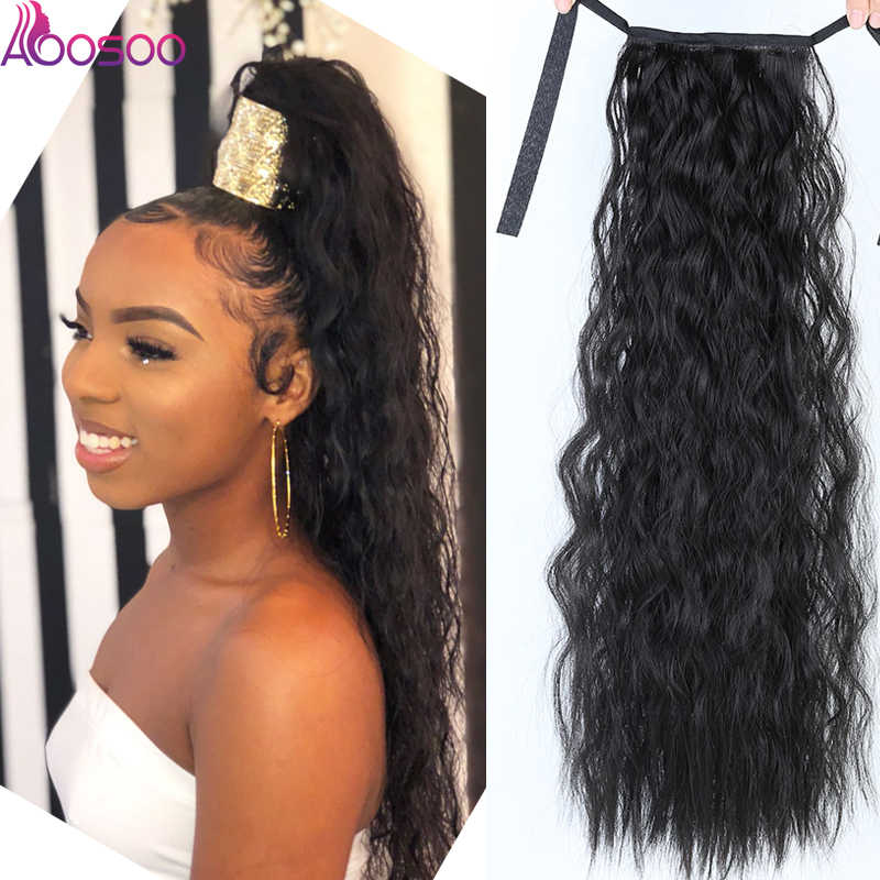 "18""22""Kinky Straight Synthetic Ponytail Extensions Clip-in Pony Tail Natural Hair Extension Heat Resistant Hair Pieces"