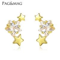 PAG & MAG new 925 Sterling Silver Earrings star Zircon Earrings female fashion simple small Pentagram female jewelry