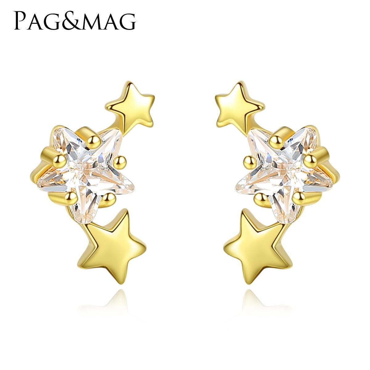 PAG & MAG nouveau 925 boucles d'oreilles en argent Sterling étoile Zircon boucles d'oreilles femme mode simple petit pentagramme femme bijoux