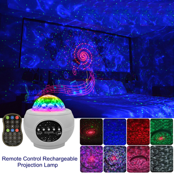 LED Rechargeable Laser Colorful Starry Sky Ocean Projector Night Light Remote Control Ocean Wave Projection Lamp With Bluetooth star ocean wave sky projector starry sky night light water wave night lamp sky laser galaxy projector