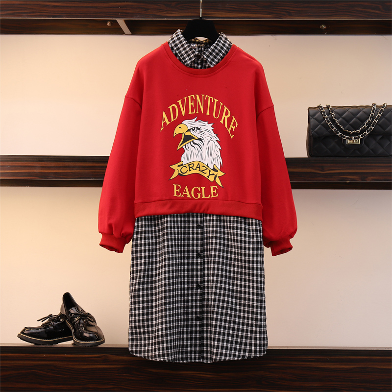 XL-5XL grande taille femmes rouge sweat robe automne 2019 imprimer à manches longues Patchwork Plaid lâche décontracté coton chemise robes