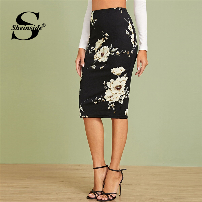 Sheinside Black Elegant Floral Print Pencil Skirt Women 2019 Autumn High Waist Midi Skirts Office Ladies Elastic Waist Skirt