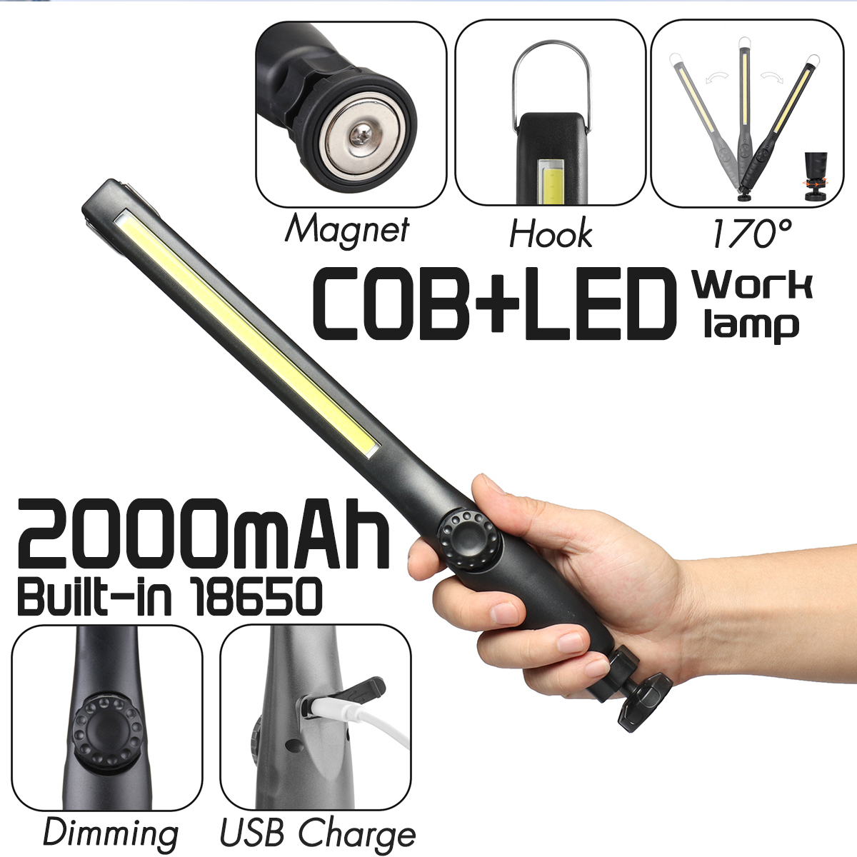 90000lm Smuxi Portable Work Lamp 360° COB LED Flashlight Magnetic Zoomable Dimming 3 Modes Rechargeable Waterproof Use 18650