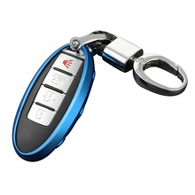Car Key Case Chain for Nissan Infiniti Ring Fob Cover Holder Accessories Blue(China)