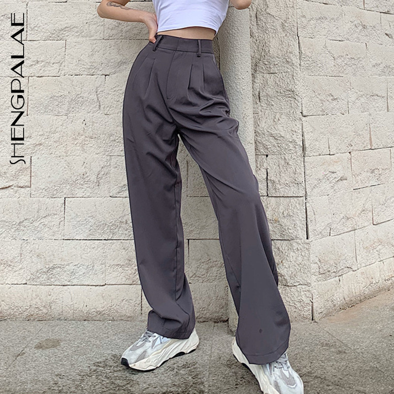 SHENGPALAE 2020 New Fashion Summer Gray Women's Office Ladies Loose Slimming Straight Button Casual Suit Pants ZA4180