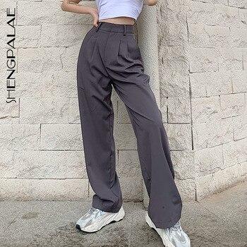 SHENGPALAE, novedad de moda de verano del 2020, pantalón de mujer gris de oficina holgado con botones rectos adelgazantes, pantalones de traje informal, ZA4180